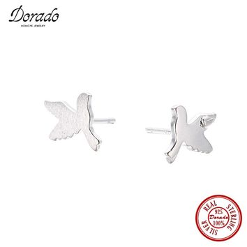 Dorado Fashion Simple Handmade 925 Sterling Silver Jewelry Flying Peace Dove Stud Earrings for Women Free Shipping
