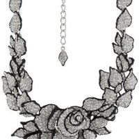 Kenneth Jay Lane Black Enamel, Silver and Rhinestone Flower Necklace