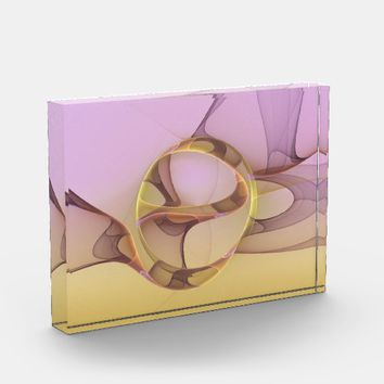 Abstract Motions, Modern Light Pink Yellow Fractal Acrylic Award