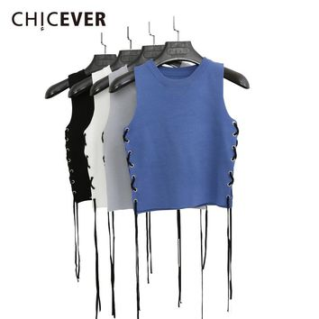 CHICEVER Summer Sleeveless Crop Top Female Knitted Short Side Wear Bandage Women's Tops Vest Black Clothes Fashion Korean