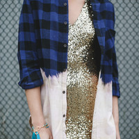 Ombre Bleached Plaid Button Up Flannels