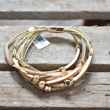 Metal Braided Wrap Bracelet, Gold