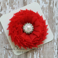 Rosette Hair Clip, Red, Swirl Chiffon Flower, Flower Hairbow, Frayed Chiffon Hairclip, Children's Hair Accessories, Girls Hairbow