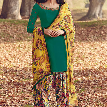 Green and Yellow Printed Tussar Silk Straight Cut Suit