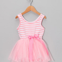 Pink Stripe Ruffle Dress - Toddler & Girls