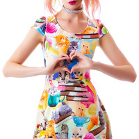 Japan L.A. Kittens and Ice Cream Cap Sleeve Dress Multi