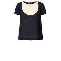 Orla Kiely - Solid Silk Georgette Frill Top