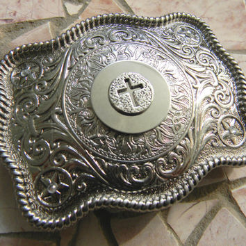 Silver Cross Belt Buckle, Rhinestone Womens Mens Kids Western Belt Buckle, Custom Baptism Confirmation Christian Gift Belt Buckle