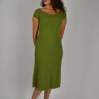 Classic 40's Knit Dress, Olive Green Dress, Sweater Dress, Wiggle Dress, Pin - Up Girl, 40's Knit Dress, Office Dress, Thanksgiving Dress,