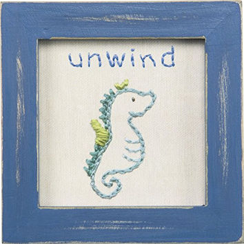Good Life at the Beach Printed Stitchery Framed Sign (Unwind-Seahorse)