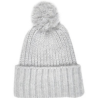 River Island Womens Light grey chunky knit beanie hat