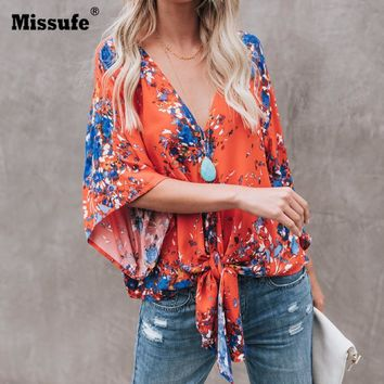Missfue Deep V Neck Sexy Women Blouses Shirts 2018 Blusa Casual Loose Bow Tie Beach Tops Floral Printed Boho Chiffon Blouse