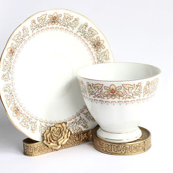 Vintage Tea Cup & Saucer Display Holders, Set of 2 | Gold Brass Metal, Antique Set Gift Collector Rose Ornate Engraved