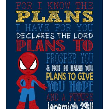 Spiderman Superhero Christian Nursery Decor Art Print - For I Know The Plans I Have For You - Jeremiah 29:11