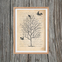 Vintage Tree Print Bird Poster Print Antique Wall Art