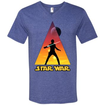 star war luke skywalker 982 Anvil Men's Printed V-Neck T-Shirt
