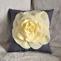 Light Yellow Rose on Gray Pillow by bedbuggs on Etsy