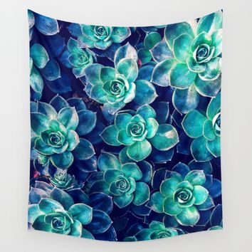 Plants of Blue And Green Wall Tapestry by Phil Perkins