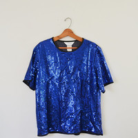 Vintage 80s Blue Sequin Shirt Blue Sequin Top Trophy Shirt Sparkle Glitter Hip Hop Shirt New Years Eve Party Clubbing Rave Shirt