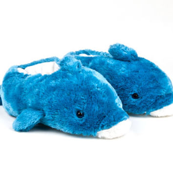 Blue Dolphin Animal Slippers | Furry Animal Slippers | BunnySlippers.com