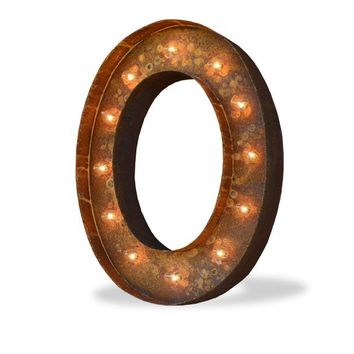 "24"" Letter O Lighted Vintage Marquee Letters (Modern Font/Rustic)"