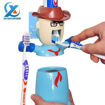 PEAPUNT Cartoon Traceless Plastic Automatic Toothpaste Dispenser Set Kids Toothbrush Holder Bathroom Toothpaste Squeezer Fast Shipping