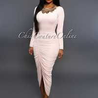 Stefania Soft Pink Ruched Front Maxi Dress