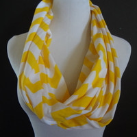 New Super Cute Jersey Knit Buttercup & White Chevron Infinity Fashion Scarf  Super Soft