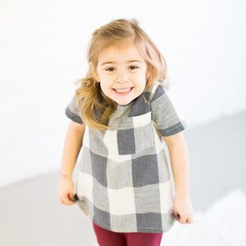 Grey Plaid Tunic- Girls