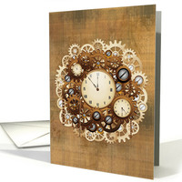 Blank Note Card, Steampunk Vintage Style Clocks and Gears (1190228)