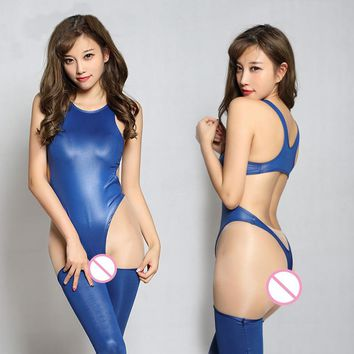 1 Set High Cut Hollow Backless Shiny Bodysuit With Stockings 6 Colors