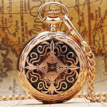 Fashion Rose Gold Hollow Skeleton Mechanical Pocket Watch Hand Wind Fob Watch Antique Gift With Chain Relogio De Bolso