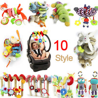 2016 New Infant Musical Soft Plush Rabbit Bear Dog Robot Baby Rattle Hanging Bed Stroller Star Teether Rattle Mobile Baby Toys