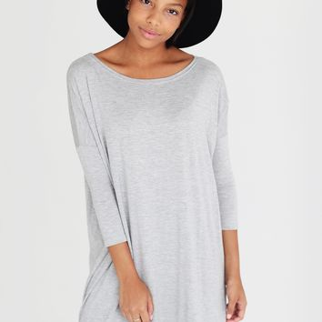 Heather Gray PIKO 3/4 Sleeve Tunic