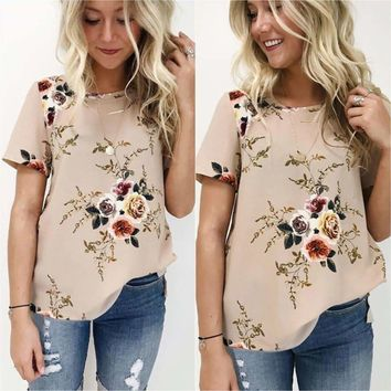 Short Sleeve Floral Blouse