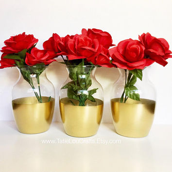 Wedding Centerpiece,Gold dipped Vases, Bridal Shower Decorations,Baby Shower Centerpiece,Gold Wedding Decor, Engagement Party Decor,Set of 3