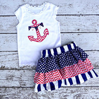 4th of July Chevron Stripe Anchor Girl Boutique Shirt with Matching Ruffle Skirt