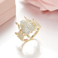 SLJELY 100% 925 Sterling Silver Full Micro Cubic Zirconia Gold Color Scarab Finger Ring Monaco Egypt Women Luxury Brand Jewelry