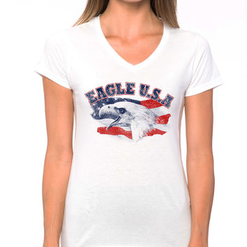 Eagle USA American Flag V-Neck Tee