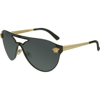 VONE6YT Versace Women's VE2161-100287-42 Black Shield Sunglasses