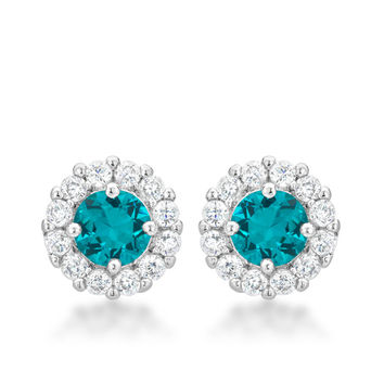 Bella Halo Earrings - Aqua
