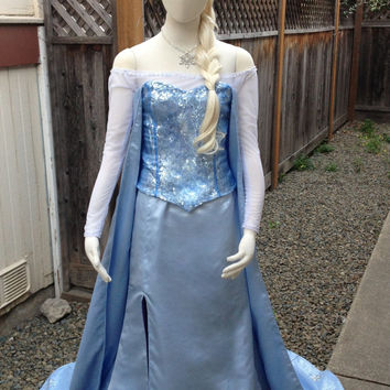 Elsa Frozen Icy Blue Silk Version E Adult Costume Custom Made