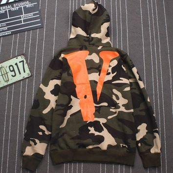 Vlone Friends Hoodies Men Women Streetwear Thin Green Camo Hooded Pullover 2018 Men Clothes Hip Hop Kanye West Hoody Sweatshirts