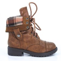 OraleeII By Happy Soda, Fold Down Military Boot Winter Lace Up Sturdy Children's Shoe