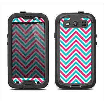 The Blue & Pink Sharp Chevron Pattern Samsung Galaxy S4 LifeProof Fre Case Skin Set