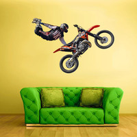 Full Color Wall Decal Mural Sticker Decor Art Poster Gift Dirty Bike Motocross Jump Motocycle Dirt Moto (col645)