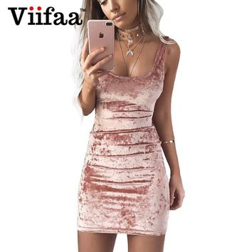 Viifaa Autumn Velvet Vest Dress Sexy Women Square Collar Backless Dress Sleeveless Pink Bodycon Casual Dresses