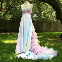 RESERVED-Dream Bohemian Fairy Fantasy Ethereal Strapless Tulle Wedding Gown