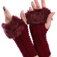 Red Faux Fur Knitted Hand Warmers