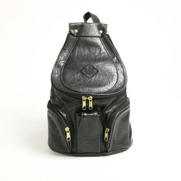 Vintage 90's Black Faux Vegan Leather Backpack Rucksack Unistrap